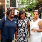 From left, Anne Marie Adamson, representing Brooklyn Borough President Marty Markowitz, Judith Destin, representing Brooklyn DA Charles Hinds, and Pearl Miles-Lee, District Manager CB 9