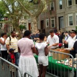Deputy Inspector Peter Simonetti, 71st Precinct Commamder assisting with the refreshments