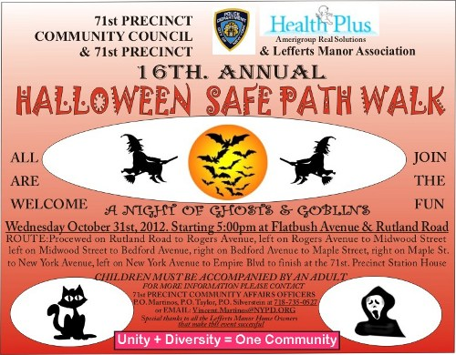 Lefferts Manor Assocition 2012 Halloween Flyer